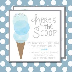 Printable! Here's the Scoop Ice Cream Party Invitation