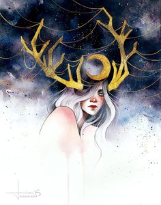 Kai fine art is an art website, shows painting and illustration works all o Art And Illustration, Watercolor Illustration, Art Inspo, Kunst Inspo, Painting Process, Painting & Drawing, Drawing Process, Deer Drawing, Fantasy Kunst