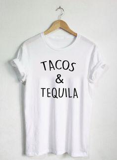 Tacos und Tequila Shirt, Party Tshirts, Unisex: Mens Womans, Essen Burritos mexikanisches Essen, trinken Bier-Schnapsglas Tees, Schüsse Biere trinken