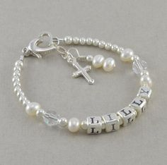 (Caelyn) Baptism Bracelet, baby christening gifts, cross charm, personalized, first communion, for goddaughter, white pearls, confirmation, LILLY