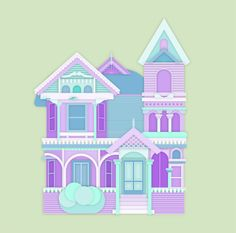 Victorian house in pastel colors. All rights reserved.