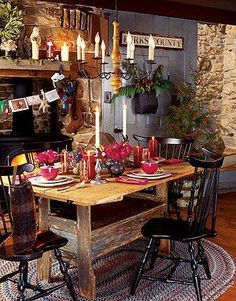 FARMHOUSE – INTERIOR – early american decor inside this vintage farmhouse seems perfect, like this primitive holiday decor.