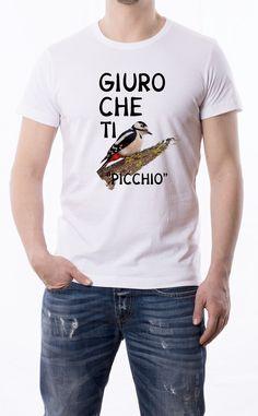 T-Shirt uomo con frase: Giuro che ti picchio Maglietta bianca con stampa digitale diretta, grafica stampa quadricromia