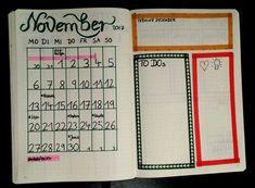 Bullet Journal Idee für den November - handlettering - Bujo - Monatsübersicht - Wocchenübersicht