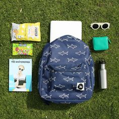 We're taking our laptops to the park in our Shark Print Backpack for a WHITEPEPPER Picnic! http://www.thewhitepepper.com/collections/bags/products/canvas-backpack-shark-print