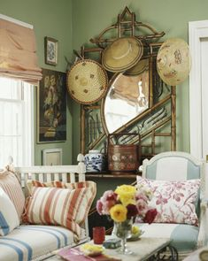 Creative Home Magazine - 2005 Decorating magazine - Spring 2005 California designer, Lynn von Kersting, has been a crush of mine for a w. Cottage Living, Cozy Cottage, Romantic Cottage, Indigo, Cottage Interiors, Eclectic Decor, Eclectic Style, House And Home Magazine, Creative Home