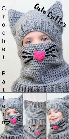 """What an adorable little """"Critter"""" hat/ cowl for your little one.  I am thinking this would be great to make the grandkids for Valentines Day.  #print#crochet#kids#pattern#valentines#etsy#ad"""