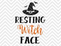 Resting Witch Face Halloween pumpkin broom fall candy SVG file - Cut File - Cricut projects - cricut ideas - cricut explore - silhouette cameo projects - Silhouette projects SVG and DXF by KristinAmandaDesigns