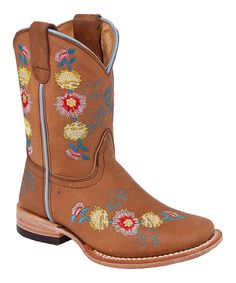 Almond Tan Floral Leather Cowboy Boot