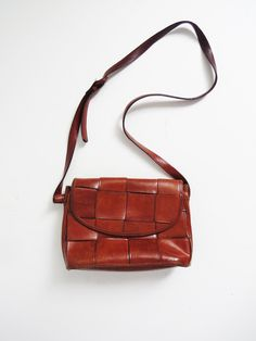 Woven Leather Purse // Vintage 1980's Leather Purse