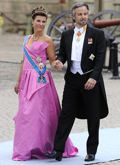 MARTHA-LOUISE OF NORWAY WITH HUSBAND ARI BEHN AT WEDDING OF VICTORIA OF SWEDEN