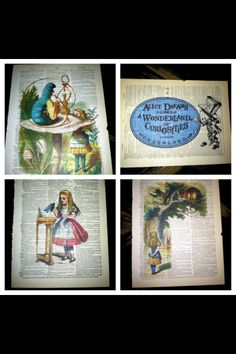 Received these 4 prints as a gift. Etsy, colored pencil on old dictionary pages.