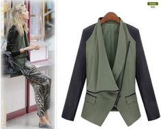 2012 Europe Style New Womens Slim Fit Splicing PU Leather Coats Jackets Tops