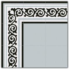 """Gris Gibert"" Reproduction Encaustic Cement Tiles for commercial projects. Islamic Art Pattern, Pattern Art, Border Tiles, Encaustic Tile, Indochine, Cement, Tile Floor, Ceramics, Mirror"