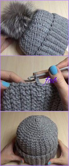 Crochet Women Pom Pom Hat Free Pattern-Video