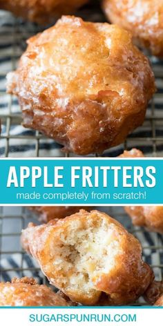 How to make APPLE FRITTERS! These are a classic Fall favorite, this recipe is easy and doesn't require yeast! Apple Fritter Recipes, Apple Recipes Easy, Apple Dessert Recipes, Donut Recipes, Sweet Recipes, Baking Recipes, Breakfast Recipes, Apple Deserts, Easy Desserts