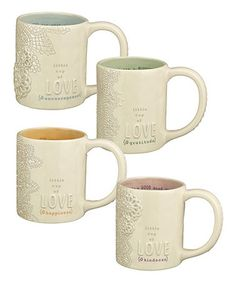 Grasslands Road - Love this 'Little Cup of Love' Mug - Set of Four on #zulily! #zulilyfinds