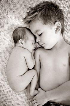 Love this for a newborn photo, but I would have the big brother wear a shirt. Maybe that says Big Brother on it. I don't get the no shirt photos when the kids are older...