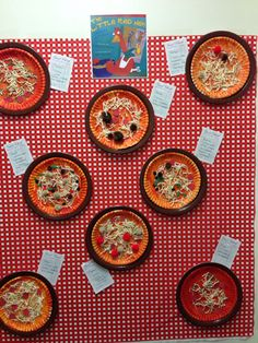 Making pizzas to order with collage materials after reading The Little Red Hen Makes a Pizza.