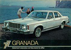1977 Ford Granada Ghia 4-Door Sedan American Classic Cars, American Pride, Ford Granada, Ford Lincoln Mercury, Old Fords, Car Advertising, Us Cars, Car Ford, Ford Motor Company