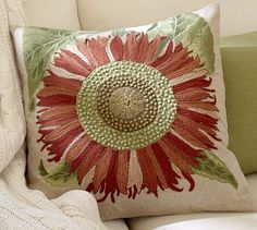 Love this.  Single Sunflower Embroidered Pillow Cover #potterybarn