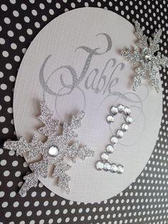 Glam winter wedding, #winter table numbers, #glamorous snowflake table numbers, #glamorous snowflake place cards. www.jenniferborkowskidesigns.com