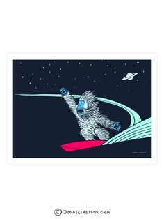 Yeti Surfs Art Print. Gallery quality Giclee print on natural white, matte, ultra smooth, 100% cotton rag, acid and lignin free archival paper (250 gsm weight) using Epson K3 archival inks. Depending