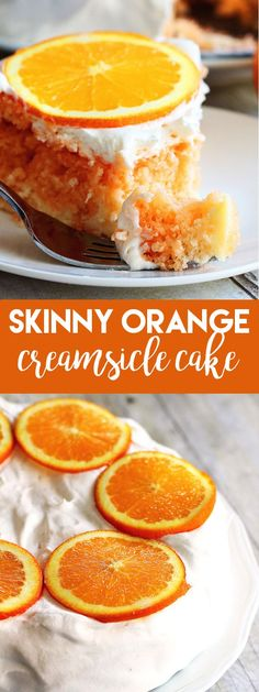 This Skinny Orange Creamsicle Cake is awesome for when you want a dessert, without all of the calories. It doesn't taste like a low-calorie cake at all either!