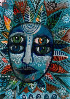 outsider art, flor con muchos detalles, 4 miradas diferentes y una apariencia de mandala o luna.