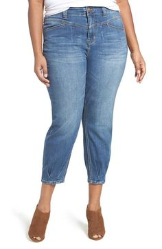 Free shipping and returns on Melissa McCarthy Seven7 High Rise Stretch Girlfriend Jeans (Savannah) (Plus Size) at Nordstrom.com. Shaped for a more curve-accommodating fit than the usual boyfriend cut, high-rise girlfriend jeans are styled with slightly billowed and cropped legs gathered to pleats at the hems. The comfortable stretch denim features a casual blue wash aged with fading and whiskering.