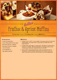 Fruchoc and Apricot Muffins Cupcake Cakes, Cupcakes, Muffin Pans, Cooking Time, Anastasia, Food Ideas, Sweet Treats, Food Porn, Cupcake