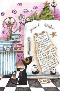 Original watercolor painting art whimsical Stressie cat mouse crow spider eggnog #Folkartillustration