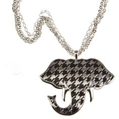 Alabama Crimson Tide Houndstooth Elephant Necklace.