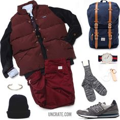 Penfield Outback Vest ($150). Whillas & Gunn Alaska Shirt ($195). S.N.S. Herning Version Cardigan ($180). Creep Crooked Pocket BD Shirt ($149). Norse Projects Aros Heavy Chino ($165). Herschel Supply Co. Mark McNairy Little America ($150). Daniel Wellington Classic Oxford ($175). Our Legacy Wool Hat ($85). Anonymous Ism Cotton Mix Crew ($25). Corter Leather And Cloth Bottle Hook ($36.50). New Balance 996 Sneakers ($130). Cause And Effect Silver Bar Cuff ($270)