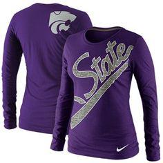 Nike Kansas State Wildcats Ladies Angled Script Long Sleeve Tri-Blend T-Shirt - Purple $32