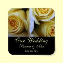 Yellow Rose Wedding Stickers are great for favor bags, wedding invitations, save the date cards and thank you note cards.