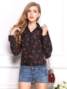 Black Fashion Lapel Long Sleeve Red Lips Pattern Loose Bottoming Shirt