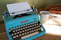 Sweet Robins Egg Blue Typewriter from sugarSCOUT on Etsy
