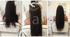 70 cm-es hajhosszabbítás keratinos hőillesztéses technikával 5-ös barna színű hajfesték alkalmazásával Techno, Hair, Beauty, Techno Music, Beauty Illustration, California Hair