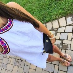 IG @mrscasual <click through to shop this look> Old navy white embroidered dress Tory burch miller sandals. Black cross body wallet.