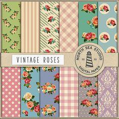 BUY5FOR8 Vintage Roses Digital Paper Shabby Chic by NorthSeaStudio