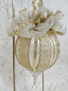 Handmade Christmas Tree Ornament White Satin by BobbyesHobbies, $14.00 Etsy