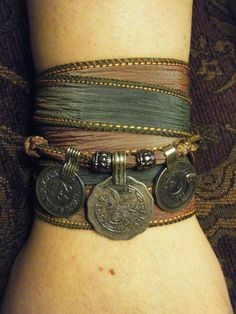 Mystical Moonlight Boho Gypsy Silk Wrap Bracelet w/ Tribal Kuchi Coins, Gypsy, Bellydance, Yoga Bracelet, Silver Accents on Etsy, $22.00