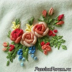 Wonderful Ribbon Embroidery Flowers by Hand Ideas. Enchanting Ribbon Embroidery Flowers by Hand Ideas. Brazilian Embroidery Stitches, Hand Embroidery Stitches, Silk Ribbon Embroidery, Crewel Embroidery, Hand Embroidery Designs, Embroidery Techniques, Embroidery Needles, Embroidery Supplies, Creative Embroidery