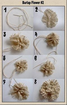 Diy Crafts - Learn to make loopy burlap flowers from burlap ribbon. These loopy burlap flowers are the Burlap Lace, Burlap Flowers, Burlap Ribbon, Lace Flowers, Hessian, Burlap Projects, Burlap Crafts, Diy Crafts, Burlap Decorations
