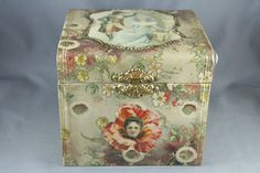 Victorian Celluloid Collar Box Collar and Cuff Floral Portrait Satin Lined Pink | eBay