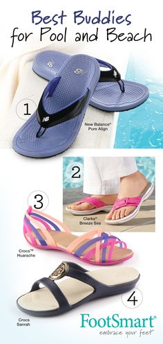 Need something better than flip flops for the pool or beach? FootSmart has the water-friendly shoes and sandals you need, expertly selected with your comfort and style in mind. Go ahead and get a few pairs to go with all your Summer outfits.