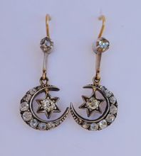 Antique Crescent Moon & Star Diamond Earrings