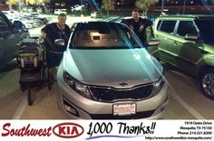 Our experience was fantastic. They worked hard to get me the best deal. - Wesley Watson, Saturday, November 16, 2013 http://www.southwestkia-mesquite.com/?utm_source=Flickr&utm_medium=DMaxx&utm_campaign=DeliveryMaxx