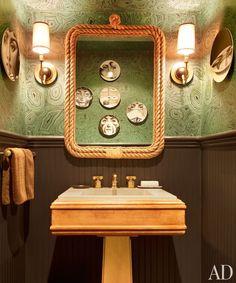 nate berkus's west village reno - amazing faux malachite wallpaper in the powder room by cole & son